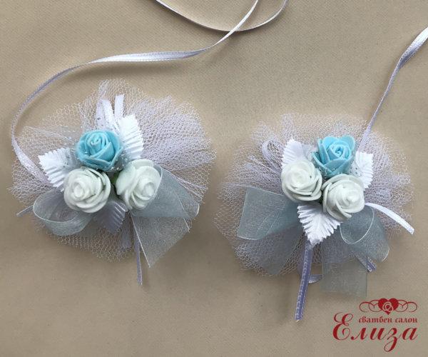 Сватбена украса за ритуални свещи и чаши в светли синьо N7
